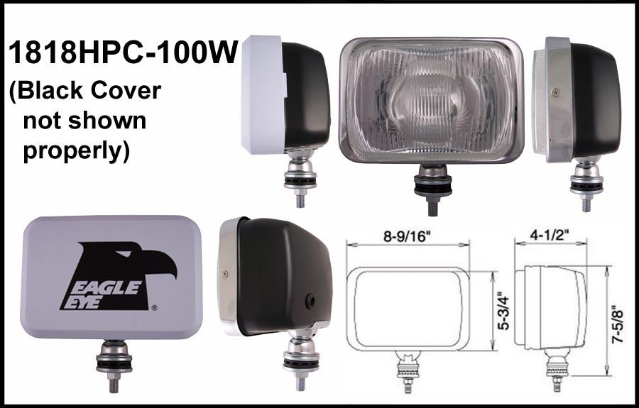 "Eagle Eye 6/"" Stainless Steel Rectangular 55W Clear Driving Light Set"